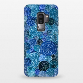 Galaxy S9+  Blue Abstract Metal Dots and Circles by Utart (glitter, texture, sparkle, shiny, pink, luxury, shine, glow, metallic, valentine, glamour, love, wedding, glowing, bokeh, effect, metal, blur, brilliant, twinkle, valentines day, elegant, fashion, gleam, gloss, brilliance, romantic, shimmer, flare, glossy, sparks, glisten,circle,circles,dot,dots,pol)