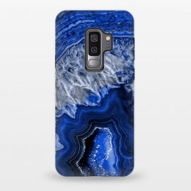 Galaxy S9+  Night Blue Agate Geode by Utart (Glitter, Stylish, Ombre, Girly, Marble, Marbled, Nature, Texture,  Geode ,Terrazzo,  Metallic, Scandi, Bohemian, Boho, Scandinavian, stone, crystal, quartz, gemstone, gem, granite,  shimmer, shimmery, shiny ,metallic,  trendy, girly, simply, simple, glitter, chrystal ,ink, malachite, agate, indigo,b)