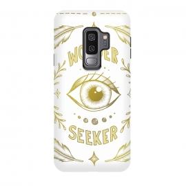 Galaxy S9 plus  Wonder Seeker by  (Eye, Wonder, Magical, Power, Feminism, Fantasy, Believe, Dream, Illustration, Typography, Drawing, Feathers, Gold, Pretty, Pattern)