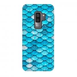 Galaxy S9 plus  Teal Glitter Metal Mermaid Scales by  (fish, trendy, girly, ocean, sea, shell, metal, mermaid scales, mermaid, scales, metal foil, gatsby, chic, elegant, feminine, luxury, fashion, glitter, glamour, utart,blue,teal,aqua,turquoise,pattern,trendy,chic,girly,girl,woman,women,feminine,modern,trend,metal,metallic)