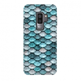 Galaxy S9 plus  Silver and Blue Metal Glitter Mermaid Scales by