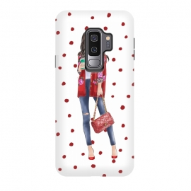 Galaxy S9+  Coffee City Girl with Red Polka Dots by DaDo ART