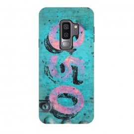 Galaxy S9 plus  Number 850 Spray Paint Grunge by  (grunge, urban, cool, distressed, edgy, street art, painting, paint, colorful, vandalism, art, number, 850, tag, pink, turquoise, green, blue, teal, spray paint, independent, grafitti, underground, trendy, unique, fashionable, gift, stencil, metal, pop-art,gift)