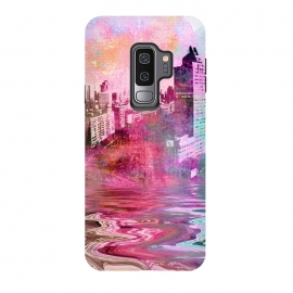 Galaxy S9 plus  Surreal City Urban Mixed Media Art by  (city, urban, cool, modern, architecture, building, skyline, metropolis, hipster, construction, illustration, art, grunge, surreal, color, colorful, water, reflection, liquid, paint, mixed media, pink, green, turquoise, gift)