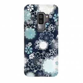 Galaxy S9 plus  Lacy Flowers on Dark Blue by
