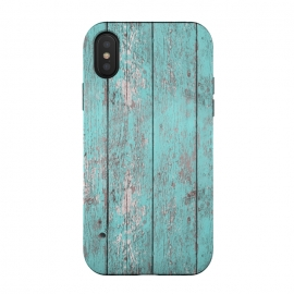 iPhone Xs / X  Old Board Wall With Flaked Paint by Andrea Haase (grunge, distressed, old, used, retro, vintage, material, texture, surface, wood, turquoise, blue, green, chipped, plank, wooden, white washed, shabby chic, peeled, teal,gift)