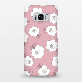 Galaxy S8+  Fluffy Flowers - White on Pink by Paula Ohreen