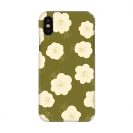 iPhone X  Fluffy Flowers - Cream on Olive Green by Paula Ohreen