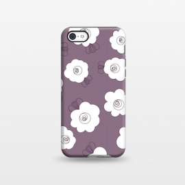 iPhone 5C  Fluffy Flowers - White on Grape Purple by Paula Ohreen