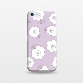iPhone 5C  Fluffy Flowers - White on Lilac by Paula Ohreen