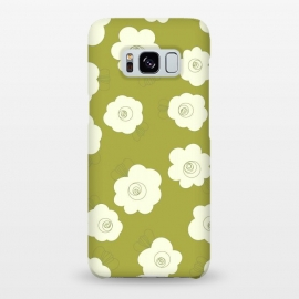 Galaxy S8+  Fluffy Flowers - White on Grass Green by Paula Ohreen