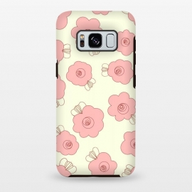 Galaxy S8+  Fluffy Flowers - Pink on Cream by Paula Ohreen