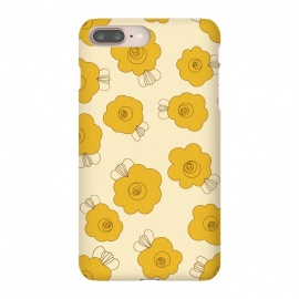 iPhone 8/7 plus  Fluffy Flowers - Mustard on Lemon Yellow by