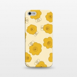 iPhone 5/5E/5s  Fluffy Flowers - Mustard on Lemon Yellow by Paula Ohreen