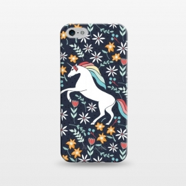 iPhone 5/5E/5s  Unicorn by Dunia Nalu (unicorn,floral,garden,navy,white,nature,magic,magical,animal)