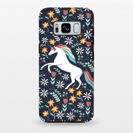 Galaxy S8+  Unicorn by Dunia Nalu (unicorn,floral,garden,navy,white,nature,magic,magical,animal)