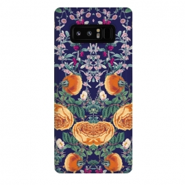 Galaxy Note 8  Midnight Spring by Zala Farah (spring,blue,orange flowers,floral,nature,cute,art,floral art,flower pattern,pattern,collage,floral collage,spring vibes,colorful,lush,botanic,botanical,garden,symmetry,abstract,dainty,pretty,nice,bright,vibrant,mothers day,special,gift,floral love,zala02creations,zala farah)