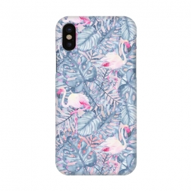 iPhone Xs / X  Pink and Blue Flamingo Summer  by Utart