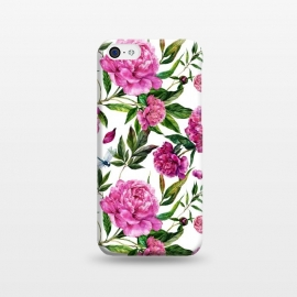 iPhone 5C  Pink Peonies on White by Utart