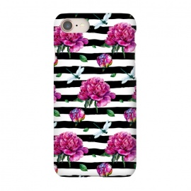 iPhone 8/7  Black Stripes and Peonies by Utart