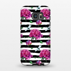 Galaxy S7 EDGE  Black Stripes and Peonies by Utart