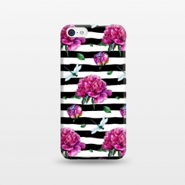 iPhone 5C  Black Stripes and Peonies by Utart