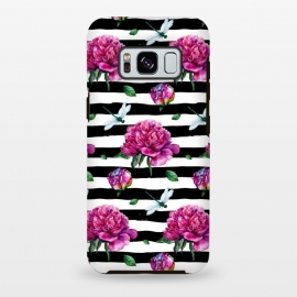 Galaxy S8+  Black Stripes and Peonies by Utart