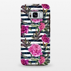 Galaxy S8+  Pink peonies and black stripes by Utart