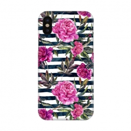 iPhone X  Pink peonies and black stripes by