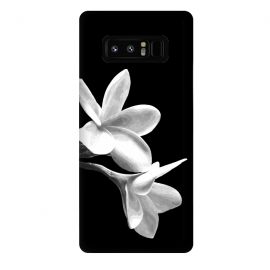 Galaxy Note 8  White Flowers Black Background by Alemi