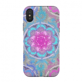 iPhone Xs / X  Pink, Purple and Turquoise Super Boho Medallions by Micklyn Le Feuvre (mandala,medallion,micklyn,boho,festival,bright,colorful,circle,aqua,turquoise,magenta,fun,hippy,bohemian,flower,doodle,painted)