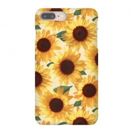 iPhone 8/7 plus  Happy Yellow Sunflowers by Micklyn Le Feuvre (sunflower,sunflowers,painted,pattern,happy,bright,summer,floral,flowers,yellow,cream,green,nature,tropical,boho)