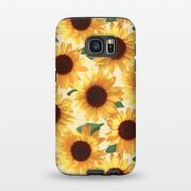 Galaxy S7  Happy Yellow Sunflowers by Micklyn Le Feuvre (sunflower,sunflowers,painted,pattern,happy,bright,summer,floral,flowers,yellow,cream,green,nature,tropical,boho)