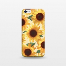 iPhone 5C  Happy Yellow Sunflowers by Micklyn Le Feuvre (sunflower,sunflowers,painted,pattern,happy,bright,summer,floral,flowers,yellow,cream,green,nature,tropical,boho)