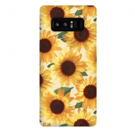 Galaxy Note 8  Happy Yellow Sunflowers by Micklyn Le Feuvre (sunflower,sunflowers,painted,pattern,happy,bright,summer,floral,flowers,yellow,cream,green,nature,tropical,boho)