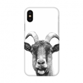 iPhone X  Black and White Goat Portrait by Alemi