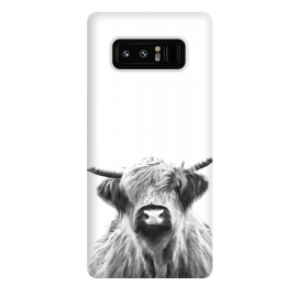 Galaxy Note 8  Black and White Highland Cow by
