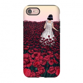 iPhone 8/7  Field of Poppies II by ECMazur  (illustration,digital art,poppies,red,flowers,floral,meadow,girl,wander,beautiful,dusk,sunset)