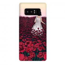 Galaxy Note 8  Field of Poppies II by ECMazur  (illustration,digital art,poppies,red,flowers,floral,meadow,girl,wander,beautiful,dusk,sunset)