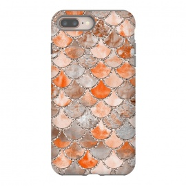 Salmon Peach and Silver Glitter WAtercolor Mermaid Scales by Utart