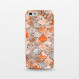 iPhone 5/5E/5s  Salmon Peach and Silver Glitter WAtercolor Mermaid Scales by Utart