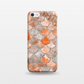 iPhone 5C  Salmon Peach and Silver Glitter WAtercolor Mermaid Scales by Utart