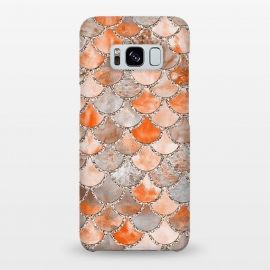 Galaxy S8+  Salmon Peach and Silver Glitter WAtercolor Mermaid Scales by Utart