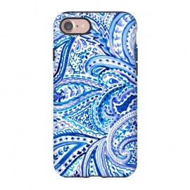 iPhone 8/7  Blue watercolor paisley by Susanna Nousiainen