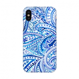 iPhone Xs/X  Blue watercolor paisley by Susanna Nousiainen (paisley,watercolor,watercolorpaisley,blue,blue tones,watercolor tones,boho vibes,summer festival)