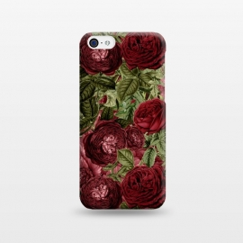 iPhone 5C  Victorian Dark Red Vintage Roses by Utart