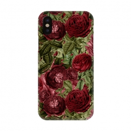 iPhone X  Victorian Dark Red Vintage Roses by Utart