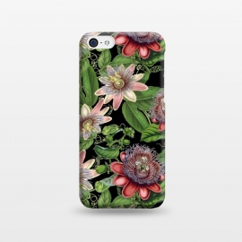 iPhone 5C  Vintage Passiflora Pattern on Black by Utart