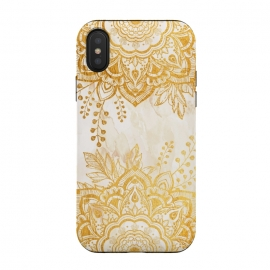 iPhone Xs / X  Queen Starring of Mandala-Gold Sunflower II by ''CVogiatzi. (cvogiatzi, cv, new, designs, flower of the night, hope, pleasure, glam, luxurious, bohemia, watercolor, pattern,boho, mandala, mandalas, blue navy, star, flower, queen, starring, decor, white, floral, stars, magical, boho, Sunflower)