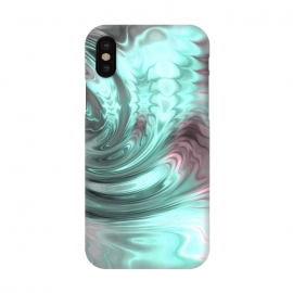 iPhone X  Abstract Fractal Teal Pink by Andrea Haase